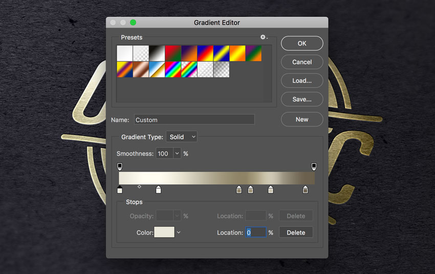 Как создать логотип из золотой фольги в Фотошопе